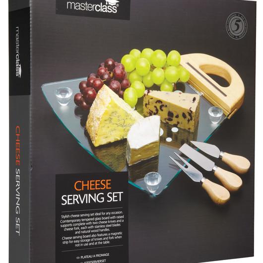 MC Набор для сыра со стеклянной доской и 3 приборами  (арт. 161451)