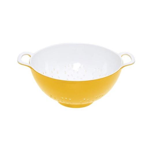 CW Коландер меламиновый двухцветный 15см (700мл) желтый с белым