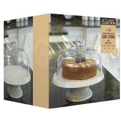 CC Блюдо для торта керамічне на ніжці з куполоподібною скляною кришкою 29см