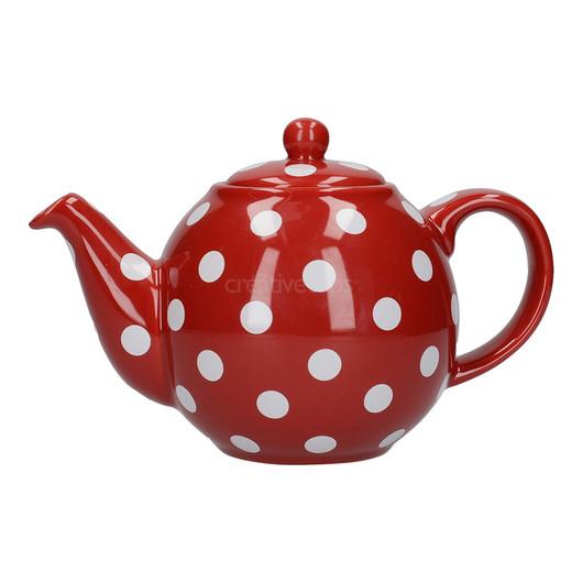 CT London Pottery Globe Чайник керамический 500мл красный белые горохи  (арт. 67250)