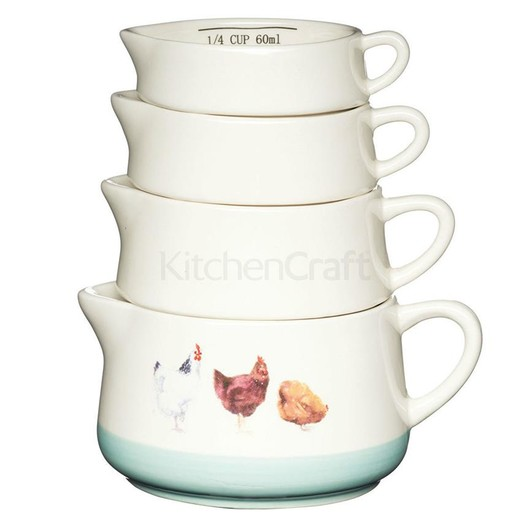AF Набор мерных чашек керамический Курочки 4 единицы  (арт. 774064)