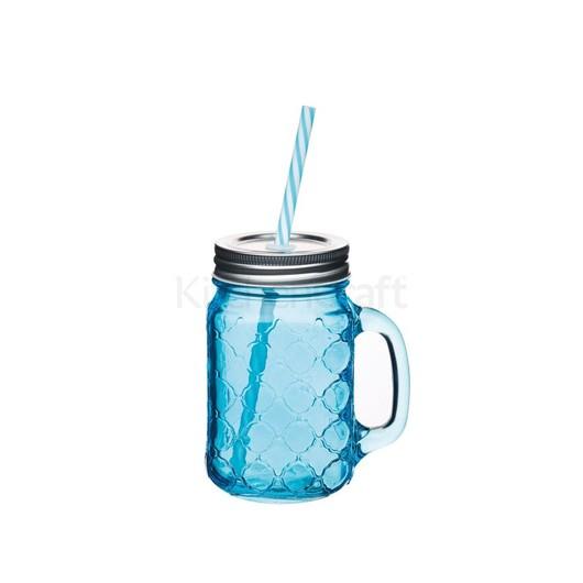 Coolmovers Romany Чашка скляна з кришкою і трубочкою синя 450мл