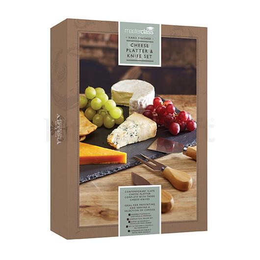 MC Artesa Набор для сыра с грифельной сервировочной доской и тремя ножами, 35*25 см  (арт. 603708)