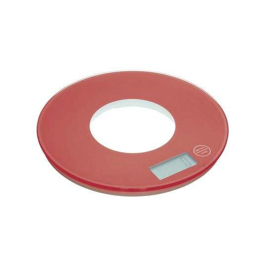 CW Весы кухонные электронные круглые 5кг красные