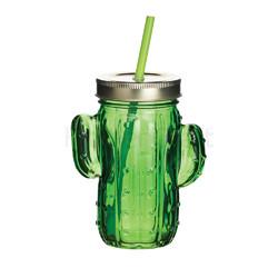 BC Чашка скляна з трубочкою Кактус 400 мл