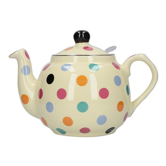 CT London Pottery Farmhouse Чайник керамічний 1л айворі кольорові горохи  (арт. 78414)