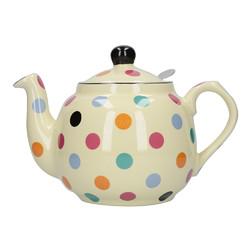 CT London Pottery Farmhouse Чайник керамічний 1л айворі кольорові горохи