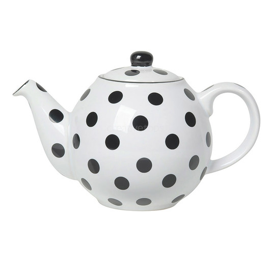 CT London Pottery Globe Чайник керамічний 500мл білий чорні горохи  (арт. 67210)
