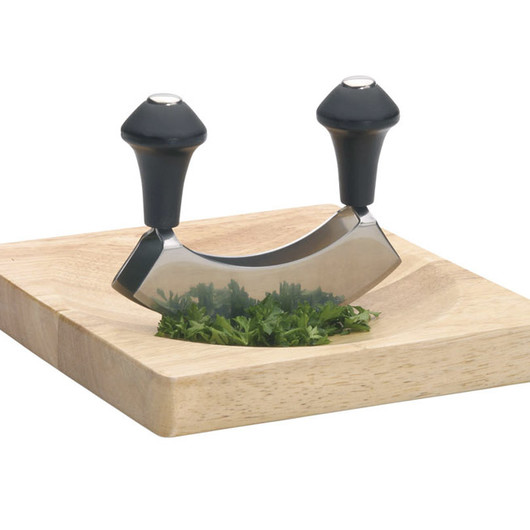 KC Ніж для зелені з нержавіючої сталі з дерев'яною дошкою  (арт. 129062)