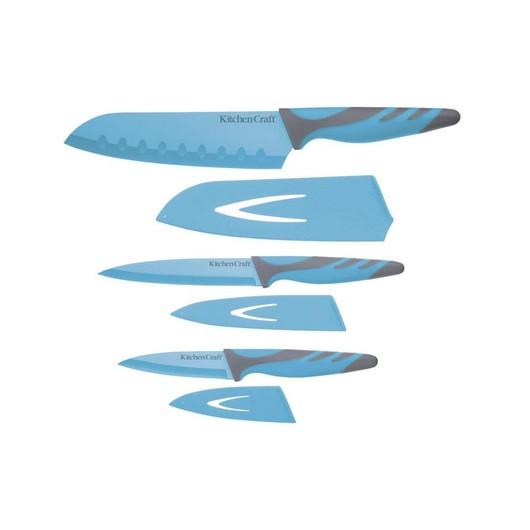 CW Набір ножів з чохлами і м'якою ручкою 3 одиниці блакитний