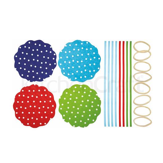 HM Салфетки для банок с вареньем с резинками и лентами 16 комплектов - Горохи  (арт. 103284)
