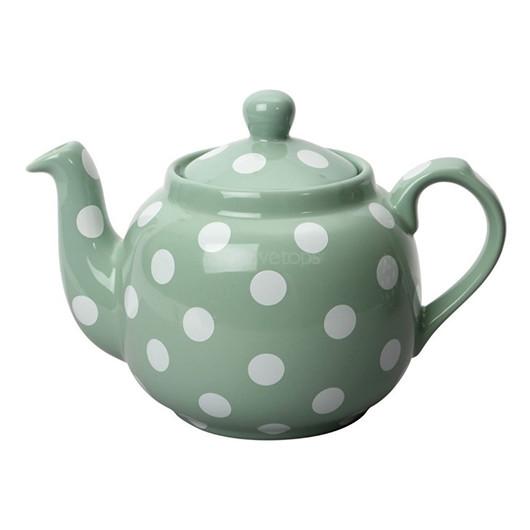 CT London Pottery Farmhouse Чайник керамический 1л зеленый белые горохи  (арт. 78446)
