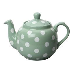 CT London Pottery Farmhouse Чайник керамічний 1л зелений білі горохи