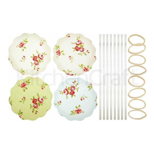 HM Серветки для банок з варенням з гумками і стрічками 16 комплектів - Квіти  (арт. 103307)