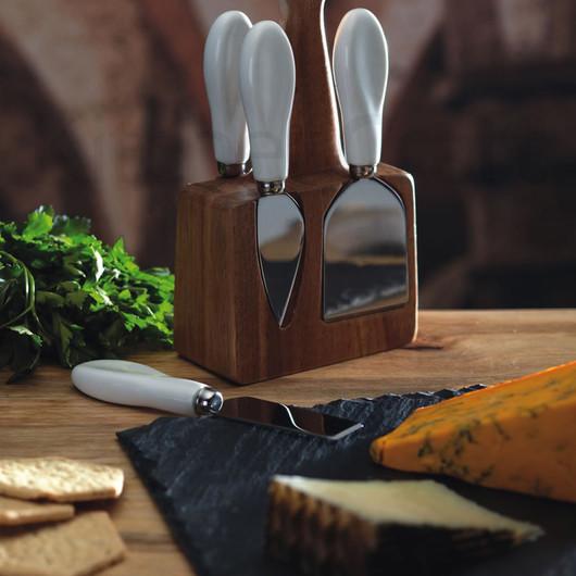 MC Artesa Набор для сыра с деревянной подставкой и 4 приборами  (арт. 472571)