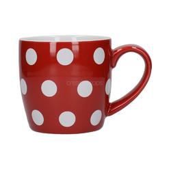 CT London Pottery Globe Чашка керамічна 300мл червона білі горохи