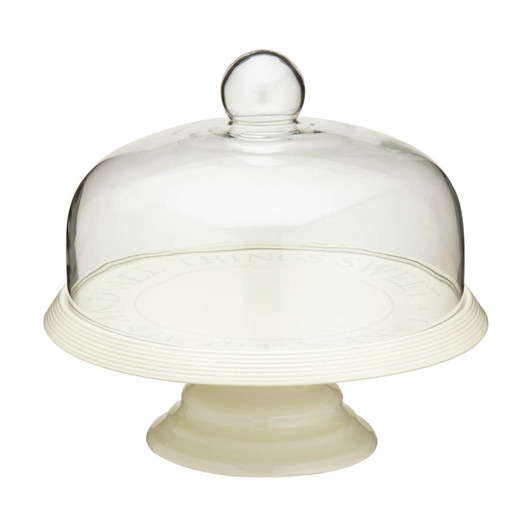 CC Блюдо для торта керамічне на ніжці з куполоподібною скляною кришкою 29см  (арт. 158598)
