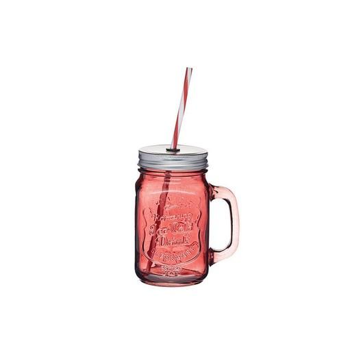 HM Чашка скляна з кришкою і трубочкою 450мл червона