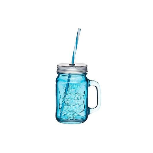 HM Чашка скляна з кришкою і трубочкою 450мл синя