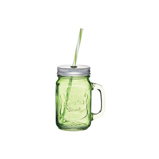 HM Чашка скляна з кришкою і трубочкою 450мл зелена