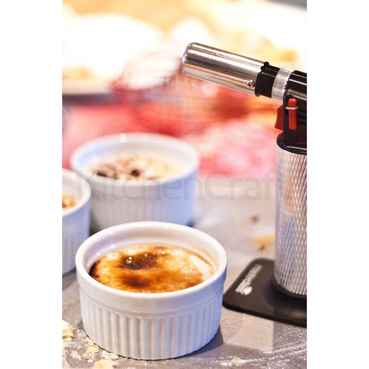KC Набор для крем брюле (горелка газовая кулинарная и 4 порционных фарфоровых горшочка)  (арт. 166814)