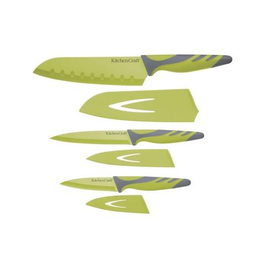 CW Набір ножів з чохлами і м'якою ручкою 3 одиниці зелений