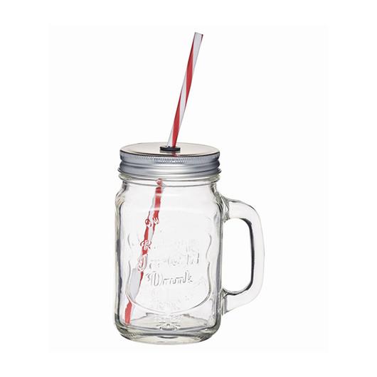 HM Чашка скляна з кришкою і трубочкою 450мл  (арт. 514523)