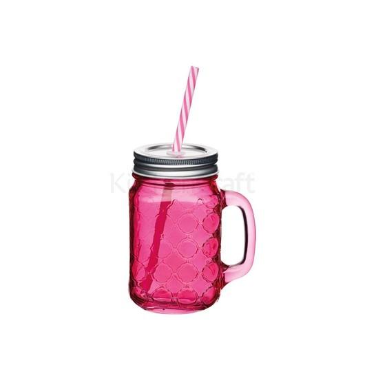 Coolmovers Romany Чашка скляна з кришкою і трубочкою червона 450мл