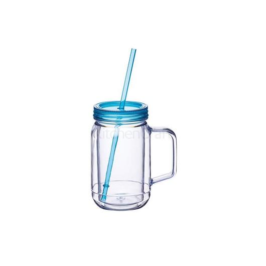 Coolmovers Romany Чашка пластиковая с крышкой и трубочкой 400 мл синяя