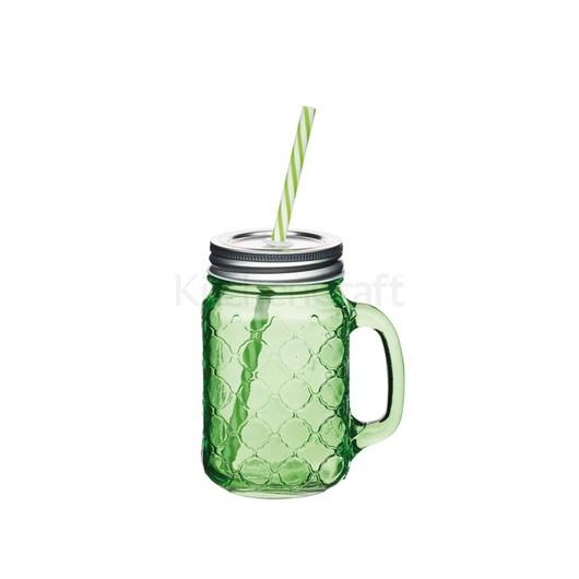 Coolmovers Romany Чашка скляна з кришкою і трубочкою зелена 450мл