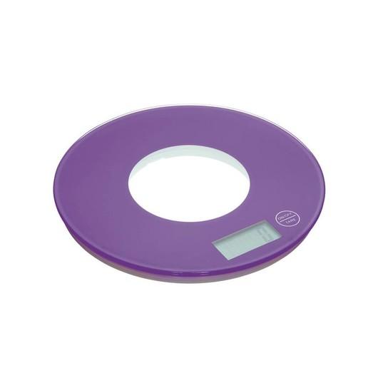CW Весы кухонные электронные круглые 5кг фиолетовые