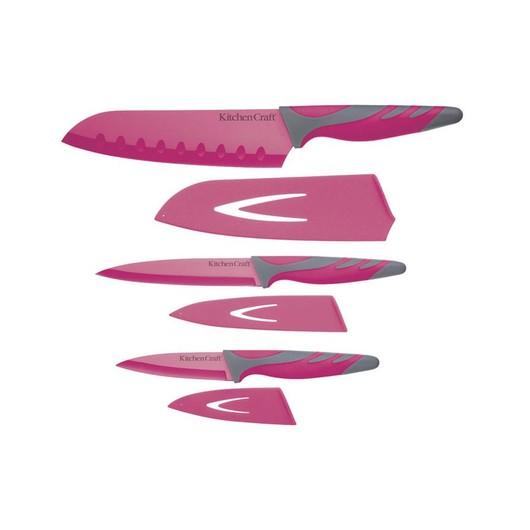 CW Набір ножів з чохлами і м'якою ручкою 3 одиниці рожевий