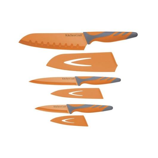 CW Набір ножів з чохлами і м'якою ручкою 3 одиниці помаранчевий
